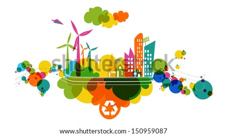 Go green colorful city Industry sustainable development with environmental conservation background illustration Vector file layered for easy editing