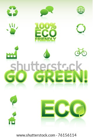 Go Green Concept. Vector Icons