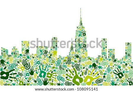 Go green crowd human hands icons in city skyline composition isolated over white. Vector file layered for easy manipulation and custom coloring