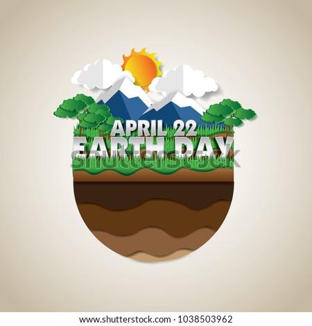 go green earth day poster illustration, paper art design