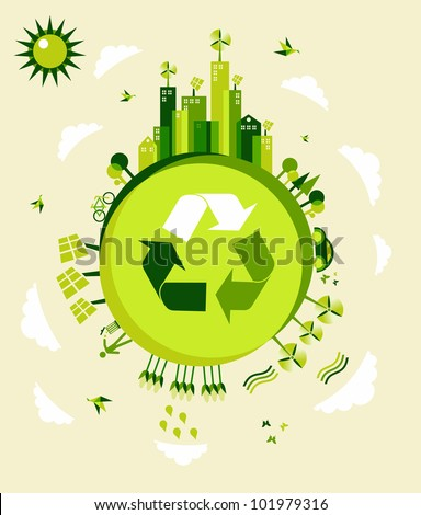 Go green Earth globe background illustration. Global sustainable development with environmental conservation. Vector file layered for easy manipulation and custom coloring.