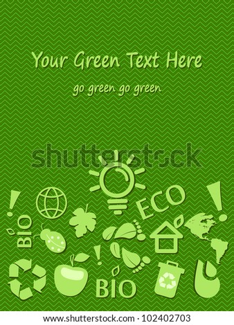 Go Green Eco Card With Place for Text. Vector Illustration