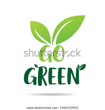 Go green Eco icon with leaves. Vector illustration