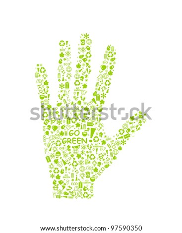go green eco pattern hand palm on white backdrop - bulb, leaf, globe, drop, apple, house, trash. Ecology concept.
