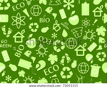 go green eco seamless pattern on dark green backdrop - bulb, leaf, globe, drop, apple, house, trash, arrow