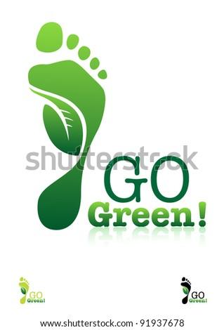 Go Green. Ecology Concept. Editable Vector.
