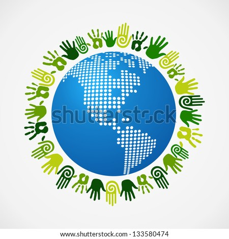 Go green human hand around America world map. Vector file layered for easy manipulation and custom coloring.