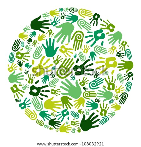 Go green human hands icons in circle composition background. Vector file layered for easy manipulation and custom coloring