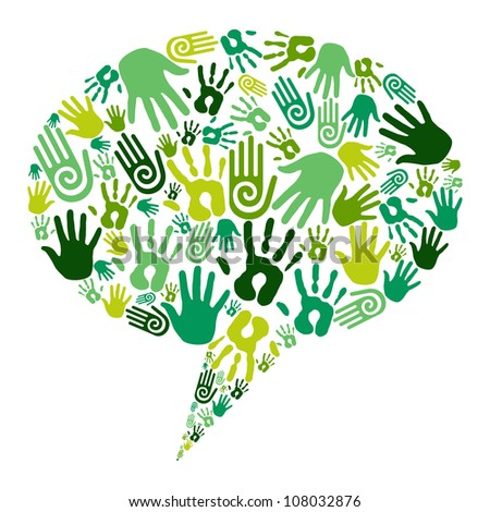 Go green human hands icons in social media bubble composition isolated over white. Vector file layered for easy manipulation and custom coloring