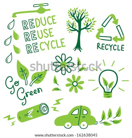 Go Green Icon In Doodle Style Stock Vector Illustration ...