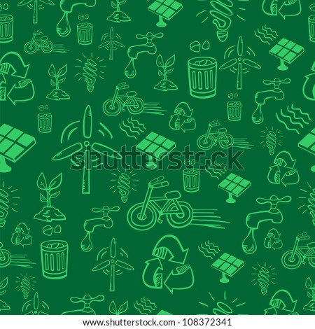 Go green icon set seamless pattern. Vector file layered for easy manipulation and custom coloring.
