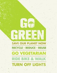 Go Green Recycle Reduce Reuse Motivation Poster Concept