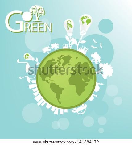 go green save world vector