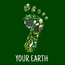 Go green symbol of footprint with icons of saving energy and recycling signs, light bulbs, leaves, trees, flowers, plants, solar panel, wind turbine, bio fuel, paper bags and batteries. Environment