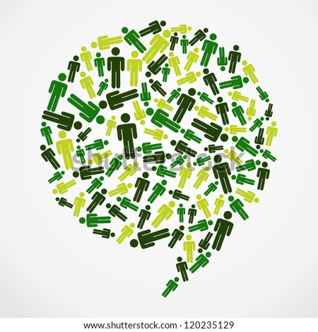 Go Green web marketing campaign: people silhouette in bubble shape. Vector file layered for easy manipulation and custom coloring.
