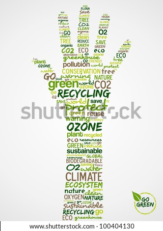 Go Green. Words cloud about environmental conservation in hand. Vector file available.
