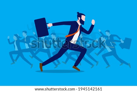 Go in the opposite direction - Business man running in different directions than the rest. Unconventional businessman and against the flow concept, vector illustration. Сток-фото ©