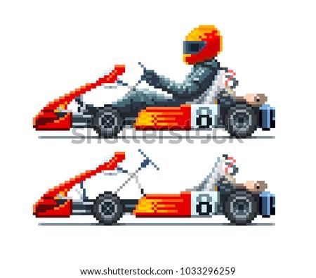 Go-Kart Racer side view. Pixel art vector illustration.