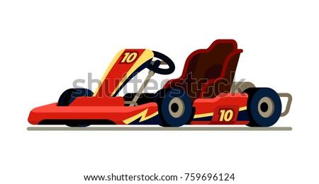 Go kart racing in modern  flat style vector illustration