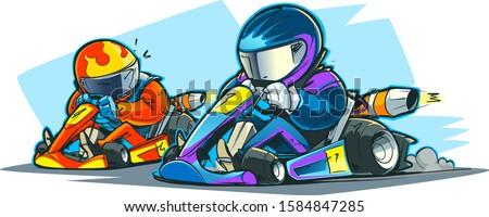 Go-kart racing. Karting competition. Cartoon illustration. Zdjęcia stock ©