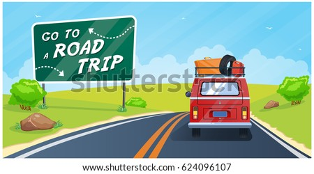 go to a road trip  vector...