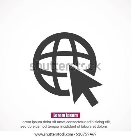 Go To Web .Globe and  cursor.Vector icon.
