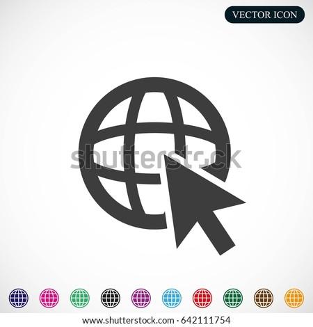 Go To Web .Globe and  cursor.Vector icon.