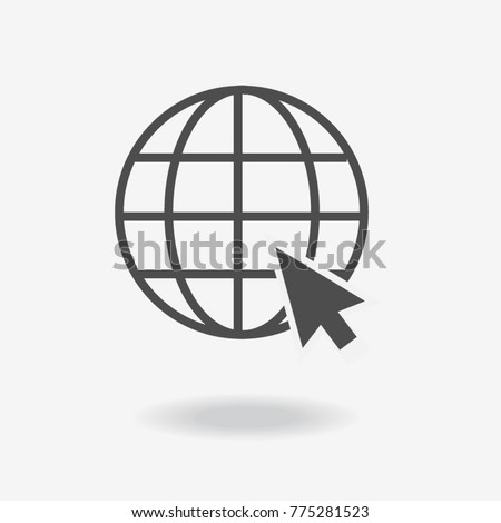 Go to web Icon in trendy flat style isolated on grey background. Website pictogram. Internet symbol for your web site design, logo, app, UI. Vector illustration, EPS10.