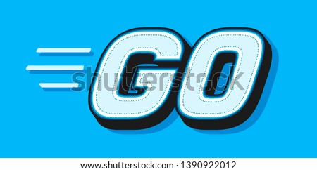 GO white word text on blue background as motivational message banner. Vector illustration Foto stock ©