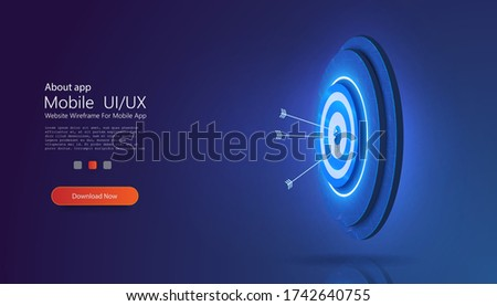 Goal achieve concept. Business target isometric concept vector illustration. Board with arrow flying to center. Symbolic goals achievement, success.  Blue webpage background. Vector illustration
