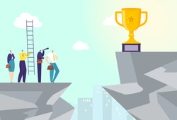 Goal achievement at hill, business success winner at mountain, vector illustration. Man woman people team character on top concept. Worker thinking about strategy, picking up trophy.