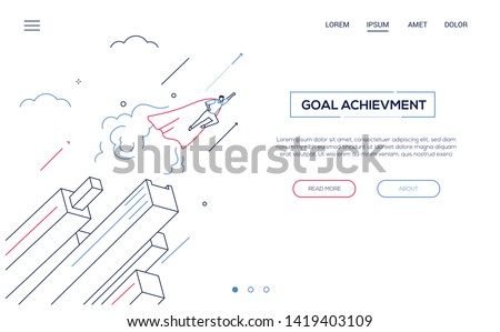 Goal achievement - line design style isometric web banner on white background with copy space for text. A header with businessman in a superhero cape flying. Leadership, motivation, ambition theme #1419403109
