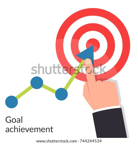 Goal achievement. Path chart to target. Successful way up to goal. Ambition business. Businessman to top graph. Aspiration to victory. Vector illustration flat design. Isolated on white background.