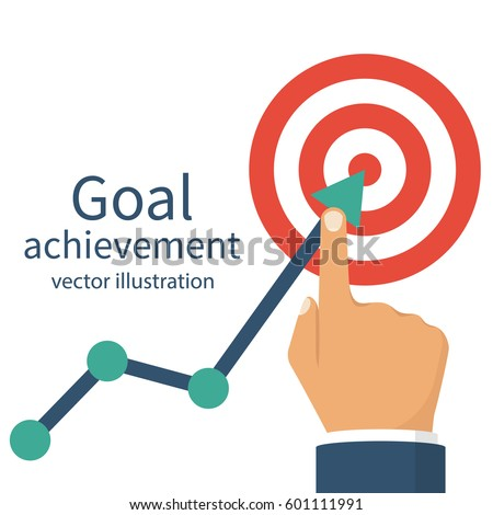 Goal achievement. Successful way up to goal. Ambition business. Path chart to target. Vector illustration flat design. Isolated on white background. Businessman to top graph. Aspiration to victory