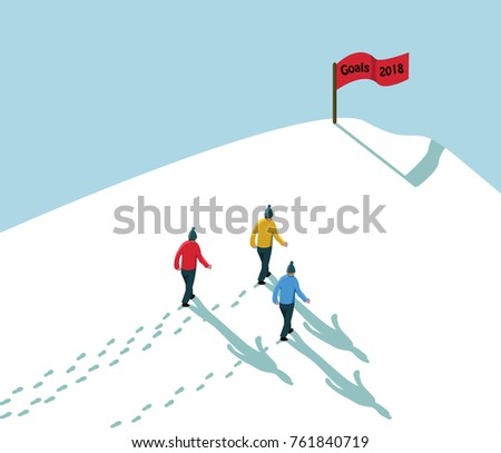 goal 2018 concept achieve reach the target- three men walking in snow up to hill with red flag sign text goals 2018