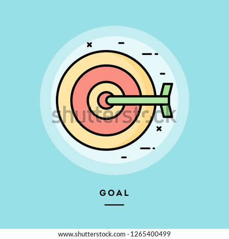 Goal, dart board, flat design thin line banner, usage for e-mail newsletters, web banners, headers, blog posts, print and more. Vector illustration.