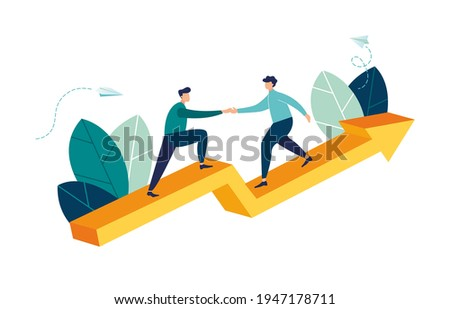 Goal-focused, increase motivation, way to achieve the goal, support and teamwork, help in overcoming obstacles, vector illustration
