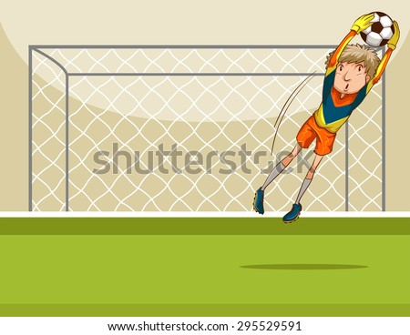 goal keeper catching a ball in