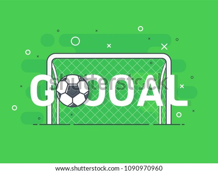 Goal sign and football / soccer ball. Trendy flat vector on green background. Vector Illustration.