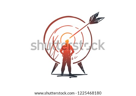 Goal, success, target, aim, arrow concept. Hand drawn person and target with arrow concept sketch. Isolated vector illustration. Foto stock ©