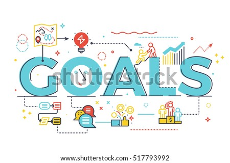 Goal word in business concept,lettering design illustration with line icons and ornaments in blue theme