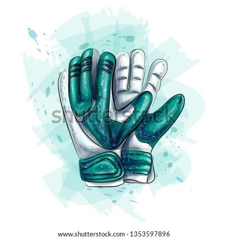 Goalkeeper gloves. Football gloves on white background. Vector illustration