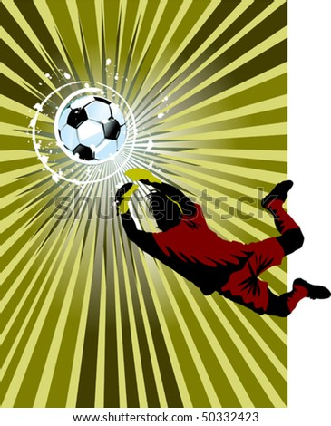 goalkeeper - the dangerous moment at gate (vector and illustration);