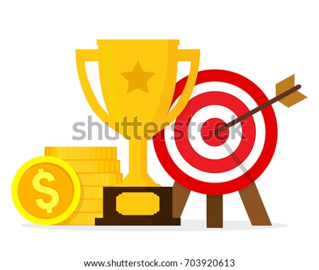 Goals and achievements concept. Vector illustration isolated on white background. Flat design. EPS 10.