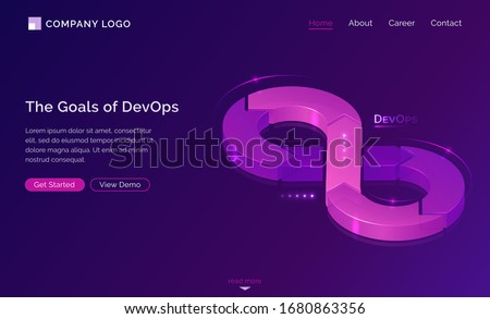 Goals of DevOps banner. Concept of development operations, communication of programmers and engineers. Vector landing page of project integration with isometric illustration of lifecycle infinity sign