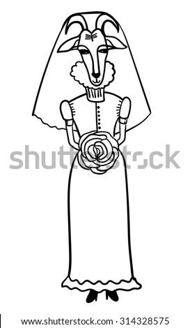 goat bride in her wedding dress