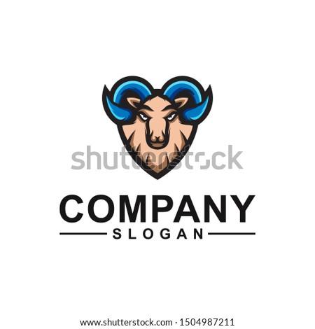 goat color logo design vector