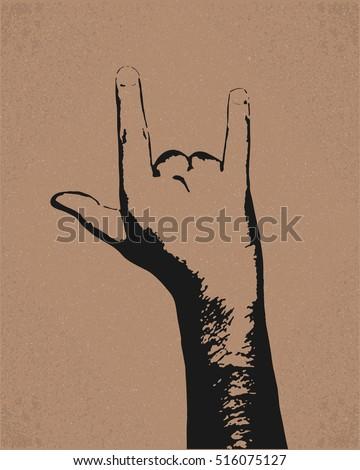 goat hand gesture  retro style