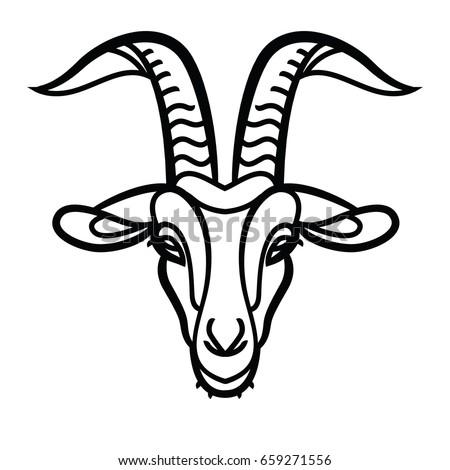 Goat head line icon, outline vector sign, linear pictogram - symbol, logo illustration