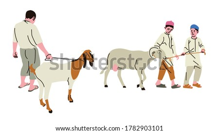Goat is one of the animals that can be sacrificed during the Eid al-Adha. Other animals that can be sacrificed are cows, sheep, buffalo and camels. Imagine de stoc ©